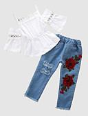tanie Zestawy ubrań dla niemowląt-Dziecko Dla dziewczynek Moda miejska Codzienny Kwiaty / Patchwork Patchwork Rękaw 1/2 Regularny Jedwab wiskozowy Komplet odzieży Biały / Brzdąc