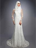 cheap Wedding Dresses-A-Line Jewel Neck Court Train Lace / Satin / Tulle Made-To-Measure Wedding Dresses with by LAN TING BRIDE®