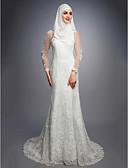 billige Bryllupskjoler-A-linje Besmykket Hoffslep Blonder / Sateng / Tyll Made-To-Measure Brudekjoler med av LAN TING BRIDE®