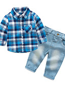 cheap Baby Girls' Clothing Sets-Baby Boys' Check Long Sleeve Clothing Set