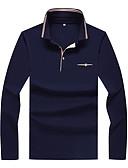 olcso Férfi pólók és atléták-Állógallér Férfi Extra méret Pamut Polo - Színes / Kérjük, válasszon méreténél eggyel nagyobb méretet. / Hosszú ujj