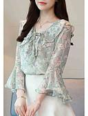 ieftine Bluză-Pentru femei În V Bluză Ieșire Floral