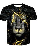 baratos Pólos Masculinas-Homens Camiseta - Bandagem Básico / Moda de Rua Estampado, Estampa Colorida / Animal Decote Redondo Leão / Manga Curta