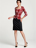 cheap Women's Dresses-Women's Work Sophisticated Cotton Sheath Dress - Plaid High Rise Sweetheart Neckline / Spring / Slim