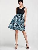 preiswerte Damen Kleider-Damen Ausgehen Street Schick Bodycon Kleid - Gerüscht, Geometrisch Übers Knie U-Ausschnitt Blau