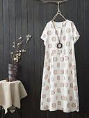 povoljno Ženski džemperi-Žene Veći konfekcijski brojevi Osnovni Pamuk Puff rukav  Shift Haljina - Drapirano, Jednobojni Maxi Crno-bijela