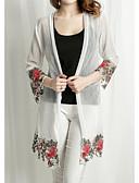 billige Damefrakker og trenchcoats-Dame Blomster / botanik Plusstørrelser - Trenchcoat