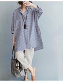 זול עליוניות לנשים-אחיד עומד משוחרר חוף מידות גדולות כותנה, חולצה - בגדי ריקוד נשים כחול ולבן