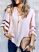 preiswerte Bluse-Damen Solide Ausgehen T-shirt, V-Ausschnitt Weiß M / Aufflackern-Hülsen