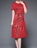 ieftine Rochii de Damă-Pentru femei De Bază Pantaloni - Mată / Floral Roșu-aprins