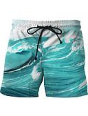 זול בגדי ים לגברים-L XL XXL דפוס גיאומטרי, בגדי ים חלקים תחתונים מכנסי שחייה כחול בהיר בסיסי בגדי ריקוד גברים
