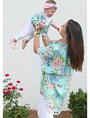povoljno Obiteljski komplet odjeće-Odrasli Mama i mene Osnovni Dnevno Cvjetni print Kratkih rukava Bluza Djetelina