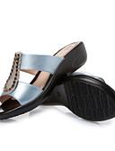 abordables Pantalones para Mujer-Mujer Zapatos PU Verano Confort Zapatillas y flip-flops Media plataforma Puntera abierta Negro / Amarillo / Azul
