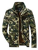 hesapli Erkek Ceketleri ve Kabanları-Erkek Günlük Askeri Bahar Normal Ceketler, kamuflaj Dik Yaka Uzun Kollu Pamuklu / Polyester Desen Ordu Yeşili / Haki