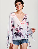 cheap Women's Blouses-Women's Butterfly Sleeves T-shirt - Geometric Print V Neck / Floral Patterns