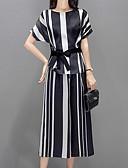 baratos Vestidos de Mulher-Mulheres Moda de Rua / Sofisticado Conjunto - Laço, Listrado Calça