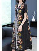 ieftine Pantaloni de Damă-Pentru femei De Bază Pantaloni - Floral Negru / În V