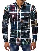 baratos Camisas Masculinas-Homens Camisa Social Básico Estampado, Listrado / Estampa Colorida Algodão Delgado / Manga Longa