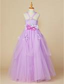 cheap Flower Girl Dresses-Ball Gown Ankle Length Flower Girl Dress - Polyester / Tulle Sleeveless Off Shoulder with Flower by LAN TING BRIDE®