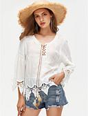 billige Skjorter til damer-V-hals Skjorte Dame - Geometrisk, Blonde Grunnleggende / Blonder
