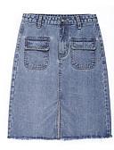 tanie Damska odzież puchowa i parki-Damskie Jeans Bodycon Spódnice Solidne kolory