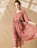 tanie Suknie i sukienki damskie-Damskie Wyjściowe Moda miejska Szyfon Sukienka - Kwiaty, Nadruk Midi / Wiosna / Lato