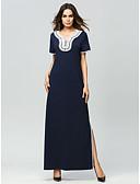 ieftine Print Dresses-Pentru femei De Bază Zvelt Pantaloni Eliminat Bleumarin / Maxi / În V