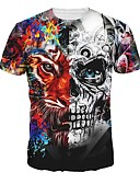 cheap Fashion Watches-Men's T-shirt - Skull Round Neck / Short Sleeve / Long