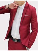 cheap Men's Blazers & Suits-Men's Business Vintage Slim Blazer-Solid Colored,Patchwork / Long Sleeve
