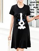 cheap Women's Dresses-Women's Basic Cotton Shift Dress - Animal Sequins / Summer
