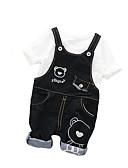 billige Sett med Gutter babyklær-Baby Gutt Grunnleggende Daglig Ensfarget Kortermet Normal Polyester Tøysett Blå