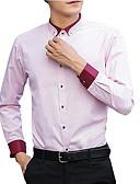 お買い得  メンズTシャツ&タンクトップ-男性用 ワーク - パッチワーク シャツ ビジネス / ベーシック スリム ソリッド / カラーブロック コットン / 長袖