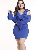 baratos Vestidos Plus Size-Mulheres Calças - Sólido Cintura Alta Azul / Decote V