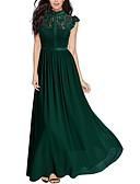 baratos Vestidos de Casamento-Mulheres Para Noite Elegante Delgado Bainha Vestido - Renda, Sólido Gola Redonda Longo / Verão