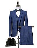 povoljno Muški sakoi i odijela-odijela Muškarci Karirani uzorak,Zašiljeni rever / Dugih rukava