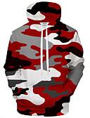 tanie Koszulki i tank topy męskie-Męskie Aktywny / Przesadny Puszysta Luźna Spodnie - 3D / Kreskówki Nadruk Czerwony / Kaptur / Długi rękaw / Jesień / Zima