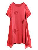baratos Vestidos Plus Size-Mulheres balanço Vestido Sólido Médio Vermelho