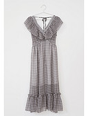 ieftine Pantaloni de Damă-Pentru femei Zvelt Șifon Rochie În V Talie Înaltă Midi