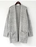 olcso Női pulóverek-Női Pamut Hosszú ujj Kardigán Egyszínű