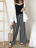 baratos Blusas Femininas-Mulheres Moda de Rua Perna larga / Chinos Calças - Listrado