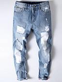 ieftine Pantaloni Bărbați si Pantaloni Scurți-Bărbați Punk & Gotic Blugi Pantaloni - Găurite, Mată