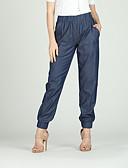 tanie Damskie spodnie-Damskie Podstawowy Puszysta Bawełna Szczupła Typu Chino Spodnie - Solidne kolory Niebieski