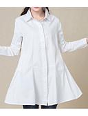 baratos Vestidos de Mulher-Mulheres Camisa Social - Para Noite Sólido Colarinho de Camisa