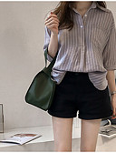 billige Skjorter til damer-Bomull Skjortekrage Skjorte Dame - Stripet