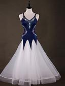 preiswerte Abendkleider-Für den Ballsaal Kleider Damen Leistung Elasthan / Organza Horizontal gerüscht / Kombination / Kristalle / Strass Ärmellos Kleid