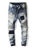 ieftine Pantaloni Bărbați si Pantaloni Scurți-Bărbați Șic Stradă Blugi Pantaloni Bloc Culoare Albastru & Alb