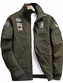 ieftine Hanorace Bărbați și Plover-Bărbați Zilnic Primăvara & toamnă Regular Jachetă, Contemporan Stand Manșon Lung Poliester Negru / Verde Militar / Kaki XXL / XXXL / 4XL
