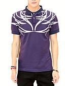 ieftine Maieu & Tricouri Bărbați-Bărbați Guler Cămașă Tricou Geometric / Manșon scurt