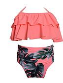 abordables Biquinis y Bañadores para Mujer-Bebé Chica Playa Floral Estampado Poliéster / Nailon Bañador Rosa
