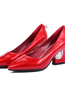 cheap Mother of the Bride Dresses-Women's PU(Polyurethane) Spring Comfort Heels Chunky Heel Black / Red / Pink / Daily